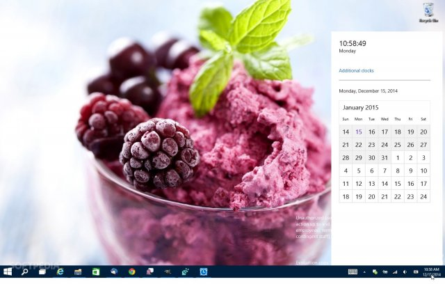Новые часы и календарь в Windows 10 Technical Preview for Consumer Build 9901