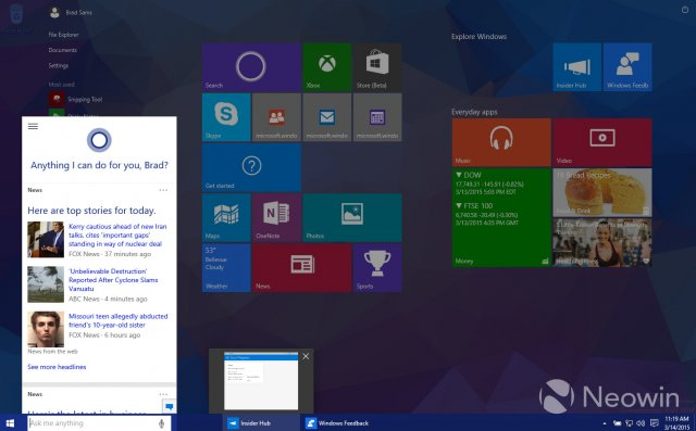 Изображения сборки Windows 10 Pro Technical Preview Build 10036