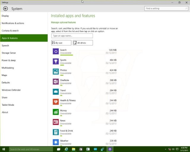 В сборке 10036 Windows 10 TP обнаружены изменения в разделе «Apps and Features»