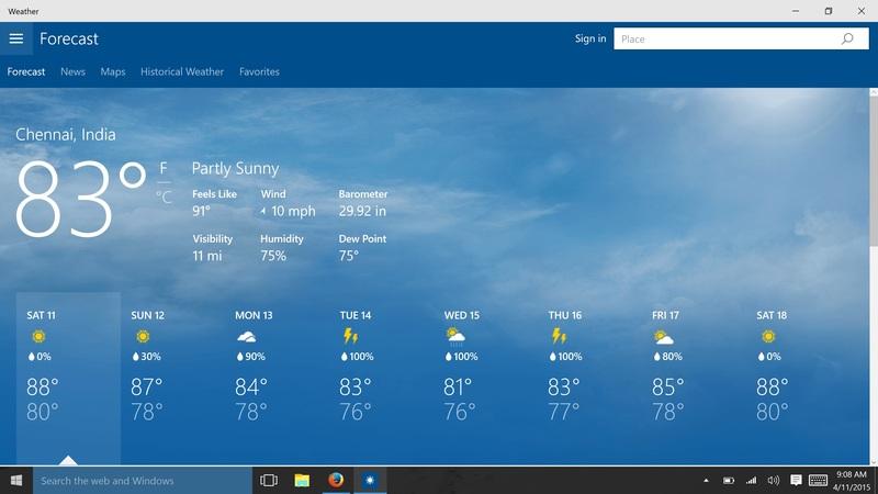 Скачать приложение на компьютер погода