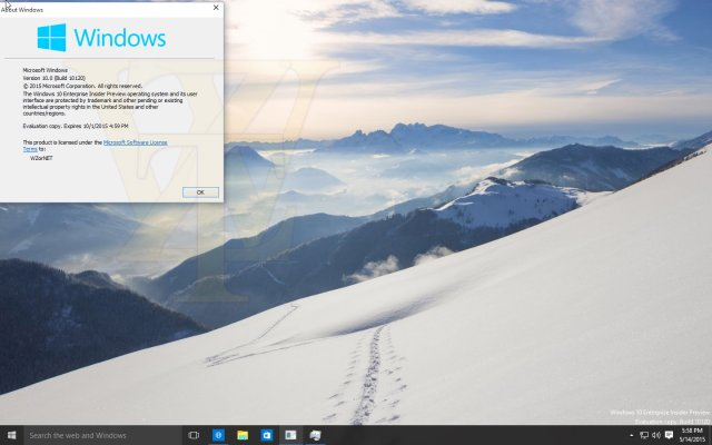 Скриншоты сборки Windows 10 Enterprise Insider Preview Build 10120