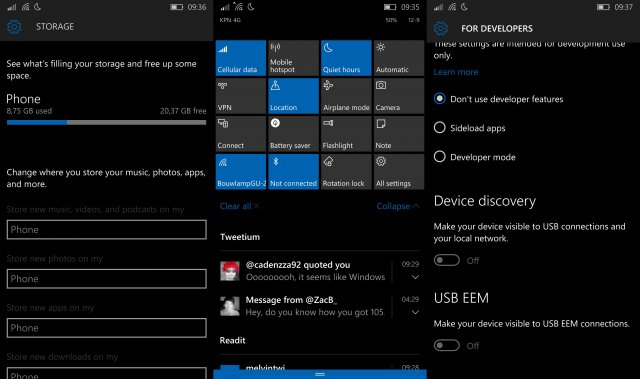 Видео сборки Windows 10 Mobile Build 10536