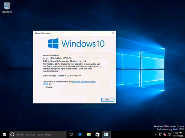 Сборка Windows 10 Build 10568 на видео