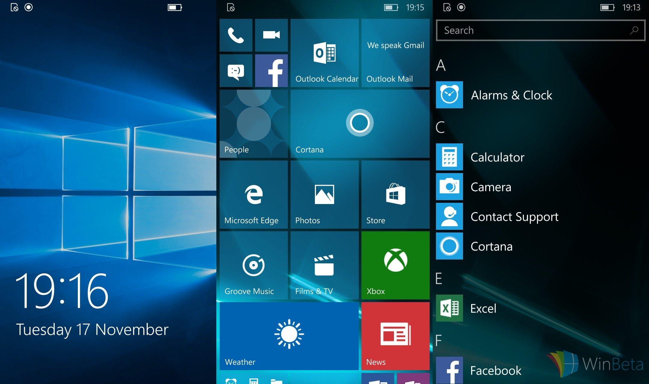 Скриншоты сборки Windows 10 Mobile Build 10586.11
