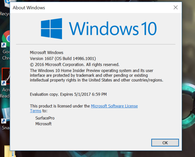 Microsoft выпустила Windows 10 Build 14986.1001 для инсайдеров