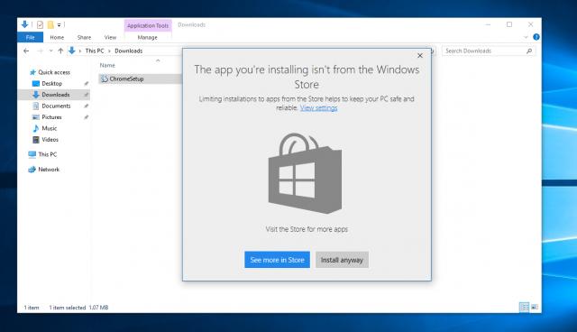 Windows 10 Build 15042 позволяет блокировать установку Win32-приложений