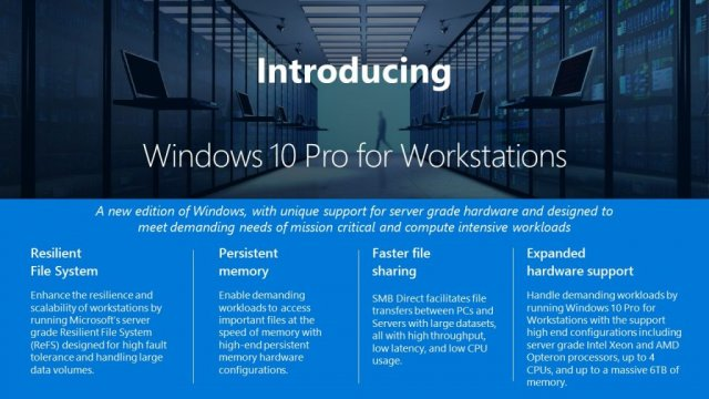 Компания Microsoft анонсировала Windows 10 Pro for Workstations