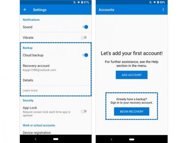 Приложение Microsoft Authenticator для Android теперь поддерживает облачное резервное копирование и восстановление