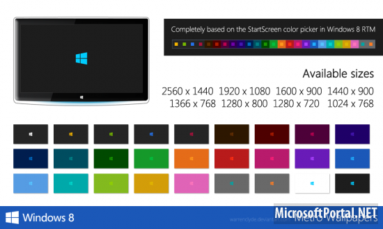 Windows 8 Metro Wallpaper (27+ Colors)