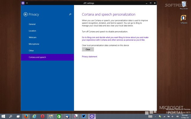 Первые настройки Cortan'ы в Windows 10 Technical Preview Build 9879