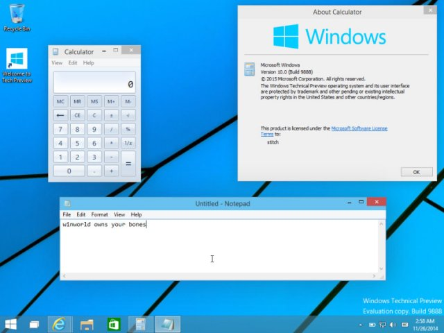 Cборка Windows 10 Technical Preview Build 9888 попала в Сеть!