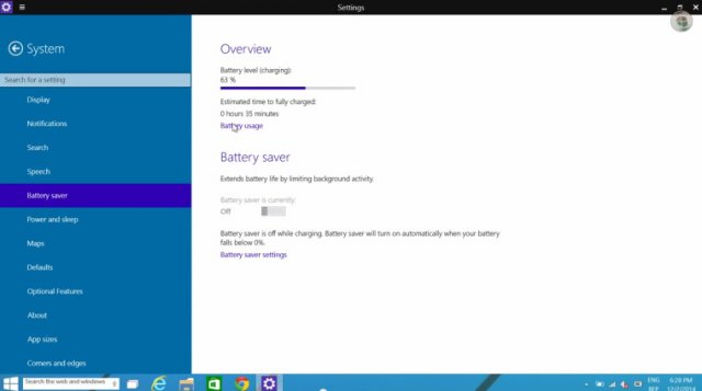 Приложение Battery Saver в сборке Windows 10 Technical Preview Build 9888 было обновлено
