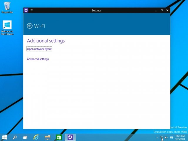 В сборке Windows 10 Technical Preview Build 9888 обновлено окно настроек сети