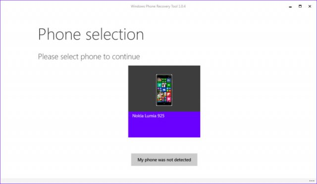 Скриншоты Microsoft Windows Phone Recovery Tool
