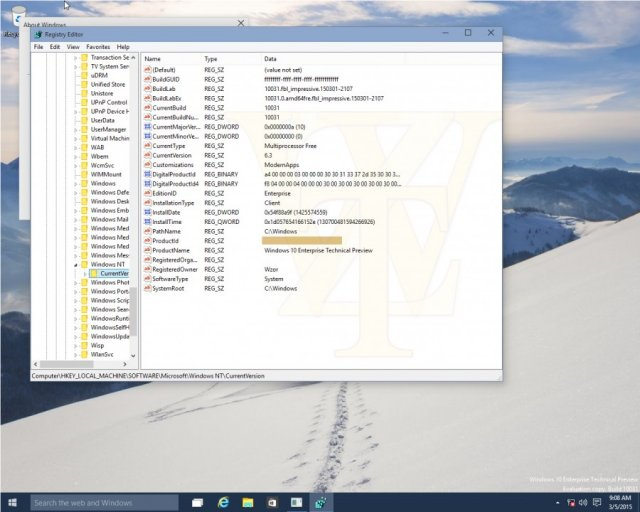 Скриншоты Windows 10 Technical Preview Build 10031