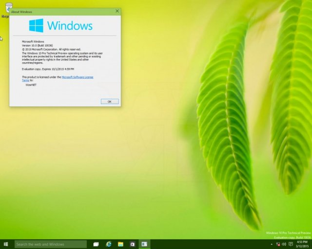 Скриншоты Windows 10 Pro Technical Preview Build 10036 English + Russian LP