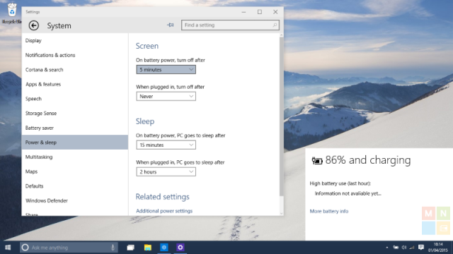 Windows 10 Build 10049: окно информации о батарее получило обновление
