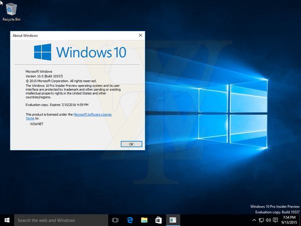 Видео сборки Windows 10 Insider Preview Build 10537