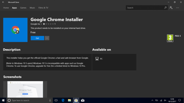 Microsoft удалила Google Chrome Installer из Microsoft Store