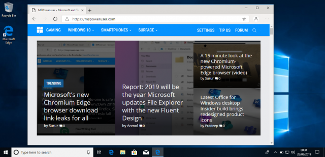 Сборка Windows 10 Build 18865 имеет следы браузера Edge на Chromium