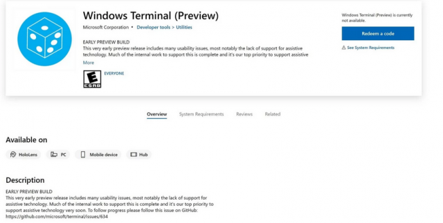 Microsoft выпустила Windows Terminal (Preview) в Microsoft Store