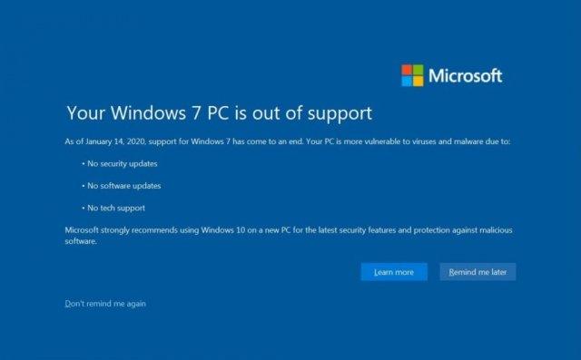 Пользователи Windows 7 начали получать полноэкранное уведомление об обновлении