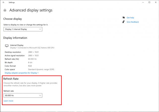 windows 10 refresh rate